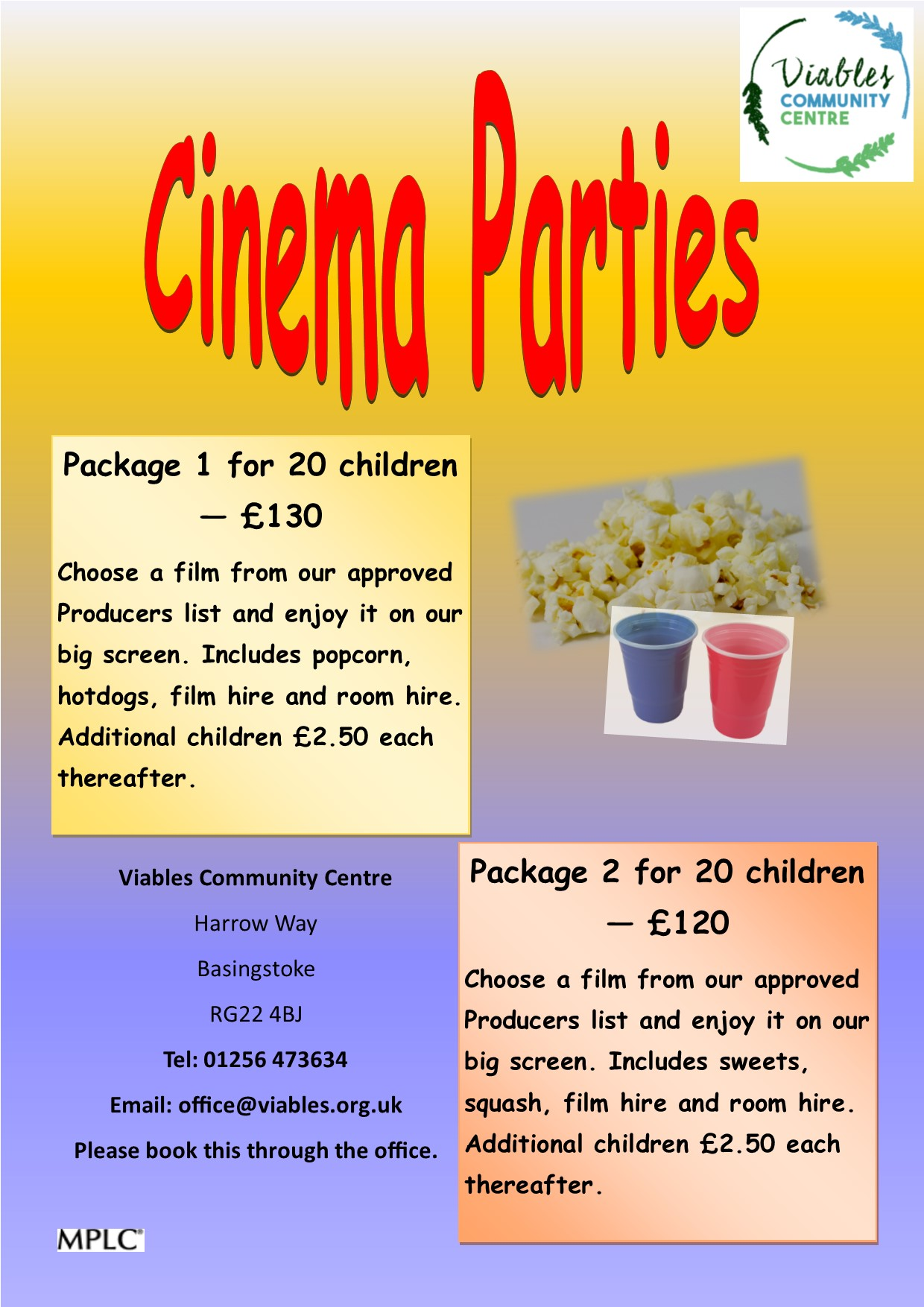 Cinema Parties at Viables